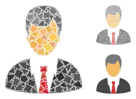Businessman composition of irregular items in variable sizes and color hues, based on businessman icon. Vector rugged items are organized into collage. Businessman icons collage with dotted pattern.