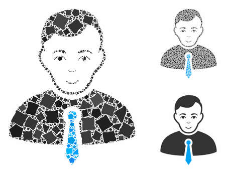 Businessman composition of rugged elements in different sizes and color tinges, based on businessman icon. Vector unequal elements are combined into collage. Illusztráció