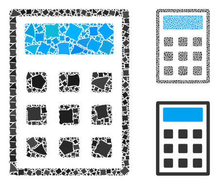Calculator composition of joggly items in various sizes and color hues, based on calculator icon. Vector joggly parts are grouped into composition. Calculator icons collage with dotted pattern.