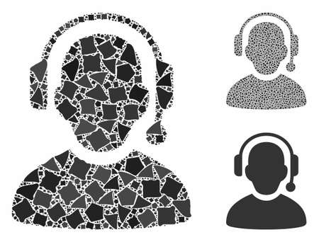 Call center composition of inequal elements in various sizes and color tinges, based on call center icon. Vector inequal elements are united into mosaic. Call center icons collage with dotted pattern.