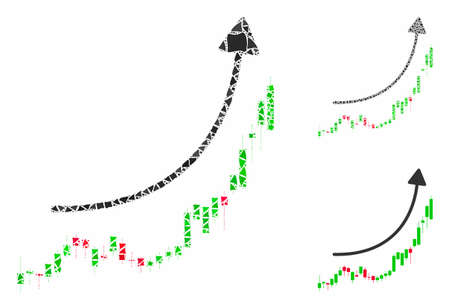 Candlestick chart growth trend mosaic of abrupt parts in various sizes and color hues, based on candlestick chart growth trend icon. Vector rugged parts are united into mosaic.