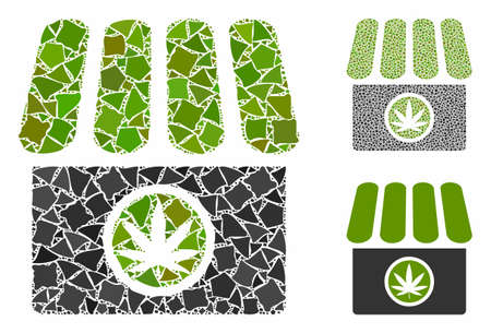 Cannabis shop mosaic of joggly parts in different sizes and color tinges, based on cannabis shop icon. Vector raggy parts are united into mosaic. Cannabis shop icons collage with dotted pattern. Illusztráció