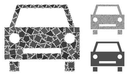 Car composition of humpy items in variable sizes and color tones, based on car icon. Vector rough dots are combined into composition. Car icons collage with dotted pattern.