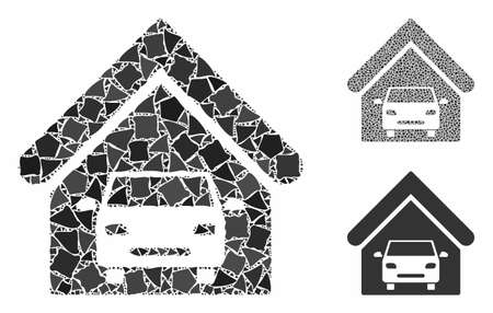 Car garage mosaic of humpy elements in variable sizes and color hues, based on car garage icon. Vector humpy elements are united into collage. Car garage icons collage with dotted pattern.