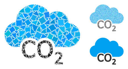Carbon cloud mosaic of rugged items in variable sizes and color hues, based on carbon cloud icon. Vector trembly items are combined into mosaic. Carbon cloud icons collage with dotted pattern. Ilustração Vetorial
