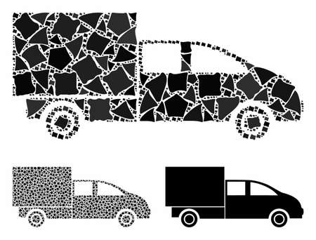 Cargo mosaic of uneven parts in different sizes and color tints, based on cargo icon. Vector rough parts are combined into mosaic. Cargo icons collage with dotted pattern.