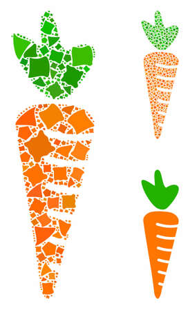 Carrot mosaic of rugged pieces in various sizes and color tints, based on carrot icon. Vector tuberous pieces are organized into mosaic. Carrot icons collage with dotted pattern. Illustration