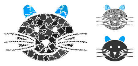 Cat mosaic of irregular pieces in various sizes and color tinges, based on cat icon. Vector raggy pieces are composed into mosaic. Cat icons collage with dotted pattern.