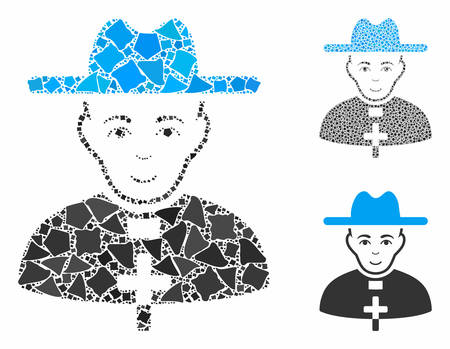 Catholic priest mosaic of abrupt parts in various sizes and shades, based on catholic priest icon. Vector abrupt pieces are combined into mosaic. Catholic priest icons collage with dotted pattern.