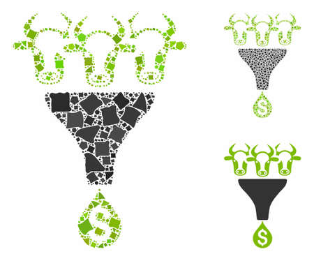 Cattle profit funnel mosaic of unequal parts in variable sizes and color tones, based on cattle profit funnel icon. Vector unequal pieces are grouped into mosaic.