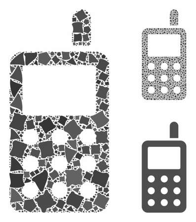 Cell phone mosaic of trembly items in different sizes and color tinges, based on cell phone icon. Vector inequal items are combined into mosaic. Cell phone icons collage with dotted pattern.