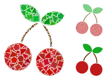 Cherry composition of rugged parts in various sizes and color tones, based on cherry icon. Vector rugged dots are grouped into collage. Cherry icons collage with dotted pattern.