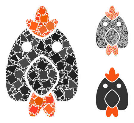 Chicken composition of bumpy items in variable sizes and shades, based on chicken icon. Vector tuberous items are composed into composition. Chicken icons collage with dotted pattern.