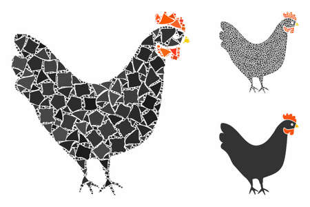 Chicken composition of unequal items in variable sizes and color tones, based on chicken icon. Vector unequal items are combined into collage. Chicken icons collage with dotted pattern.