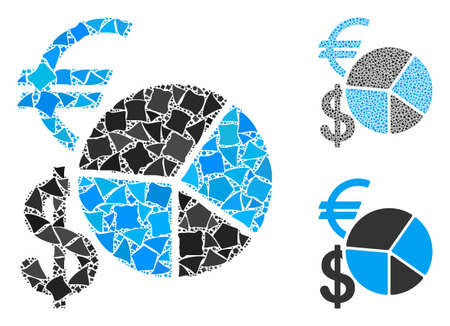 Currency pie chart composition of abrupt parts in variable sizes and color tinges, based on currency pie chart icon. Vector abrupt dots are organized into composition. Illusztráció