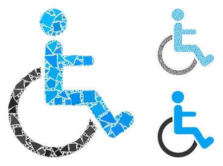 Disabled person composition of rough elements in different sizes and color tints, based on disabled person icon. Vector bumpy elements are united into composition.