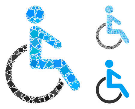 Disabled person composition of joggly elements in variable sizes and color hues, based on disabled person icon. Vector ragged elements are united into illustration.