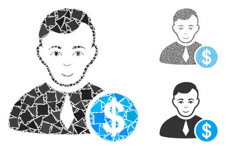 Commercial lawyer mosaic of irregular elements in different sizes and color tinges, based on commercial lawyer icon. Vector raggy dots are combined into collage. Illusztráció