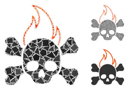Death fire composition of uneven pieces in various sizes and shades, based on death fire icon. Vector tuberous pieces are organized into collage. Death fire icons collage with dotted pattern.
