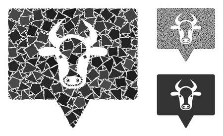 Cow banner mosaic of irregular pieces in different sizes and color tones, based on cow banner icon. Vector rough items are organized into collage. Cow banner icons collage with dotted pattern.