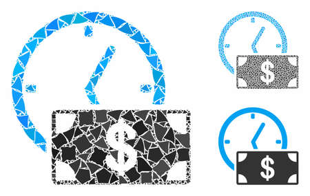 Dollar credit mosaic of joggly elements in variable sizes and color tones, based on dollar credit icon. Vector joggly parts are grouped into collage. Dollar credit icons collage with dotted pattern. Stok Fotoğraf - 133344725