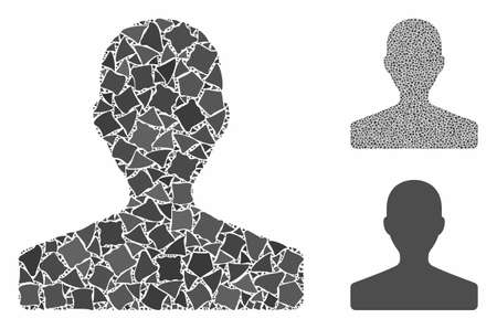 Customer mosaic of bumpy items in various sizes and color tones, based on customer icon. Vector unequal items are united into mosaic. Customer icons collage with dotted pattern.