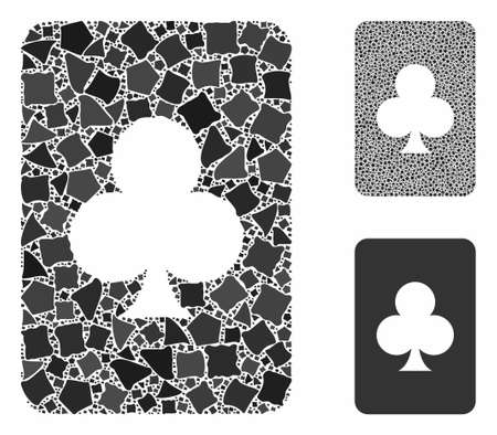 Clubs gambling card composition of tremulant pieces in different sizes and color tints, based on clubs gambling card icon. Vector tremulant parts are combined into composition. Illusztráció