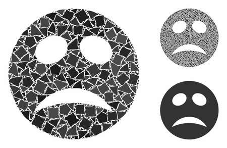 Depression smiley mosaic of unequal pieces in different sizes and color tints, based on depression smiley icon. Vector abrupt pieces are grouped into composition.
