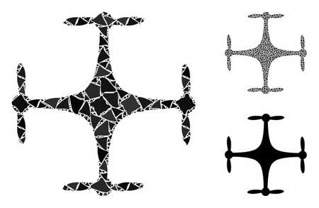 drone mosaic of bumpy pieces in various sizes and color tints, based on drone icon. Vector tuberous pieces are combined into mosaic. drone icons collage with dotted pattern.