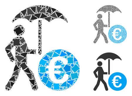 Euro financial umbrella mosaic of humpy pieces in variable sizes and shades, based on Euro financial umbrella icon. Vector humpy elements are organized into collage.