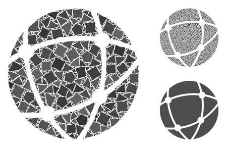 Network composition of unequal items in various sizes and color hues, based on network icon. Vector unequal items are organized into collage. Network icons collage with dotted pattern.