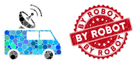 Mosaic radio control car and grunge stamp seal with By Robot caption. Mosaic vector is designed with radio control car icon and with randomized round items. By Robot seal uses red color,