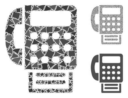 Fax machine composition of trembly pieces in various sizes and color tints, based on fax machine icon. Vector rugged dots are grouped into composition. Fax machine icons collage with dotted pattern. Illustration