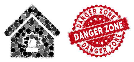 Mosaic realty alarm and corroded stamp watermark with Danger Zone text. Mosaic vector is designed with realty alarm icon and with random spheric elements. Danger Zone stamp seal uses red color,