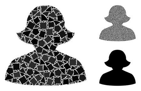 Female composition of abrupt items in variable sizes and color tints, based on female icon. Vector abrupt items are combined into composition. Female icons collage with dotted pattern.