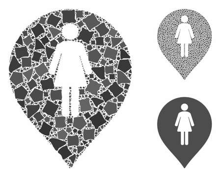 Female toilet marker mosaic of joggly parts in different sizes and color tints, based on female toilet marker icon. Vector rough parts are organized into collage.