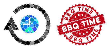 Mosaic repeat clock and grunge stamp seal with BBQ Time text. Mosaic vector is created with repeat clock icon and with random circle items. BBQ Time stamp seal uses red color, and grunge design. Çizim