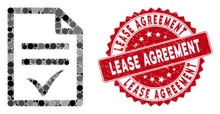 Mosaic agreement document and distressed stamp seal with Lease Agreement phrase. Mosaic vector is formed with agreement document icon and with randomized spheric elements.