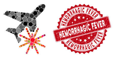 Collage aiplane explosion and rubber stamp seal with Hemorrhagic Fever phrase. Mosaic vector is composed with aiplane explosion icon and with randomized spheric spots.