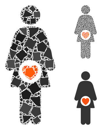 Fertility mosaic of inequal pieces in various sizes and color hues, based on fertility icon. Vector unequal pieces are organized into mosaic. Fertility icons collage with dotted pattern.