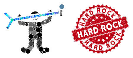 Mosaic rock concert and rubber stamp seal with Hard Rock text. Mosaic vector is designed from rock concert icon and with random spheric items. Hard Rock seal uses red color, and rubber surface.