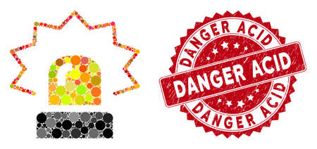 Collage alarm and rubber stamp watermark with Danger Acid phrase. Mosaic vector is created with alarm icon and with randomized round items. Danger Acid stamp seal uses red color, and rubber surface.