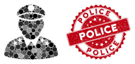 Mosaic army general and grunge stamp seal with Police text. Mosaic vector is composed with army general icon and with random circle elements. Police stamp uses red color, and rubber design.