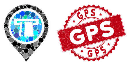 Mosaic bank machine pointer and distressed stamp seal with GPS phrase. Mosaic vector is composed from bank machine pointer icon and with scattered spheric elements. GPS stamp seal uses red color, Illustration