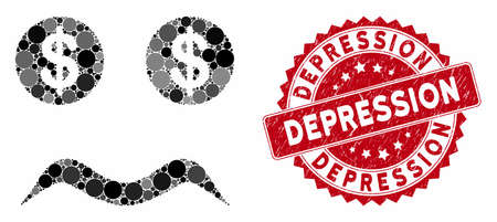 Mosaic bankrupt smiley and grunge stamp seal with Depression text. Mosaic vector is formed with bankrupt smiley icon and with randomized round elements. Depression stamp uses red color,