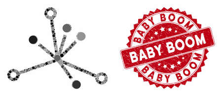 Collage big bang and rubber stamp seal with Baby Boom caption. Mosaic vector is designed with big bang icon and with scattered round elements. Baby Boom stamp seal uses red color, and rubber texture.