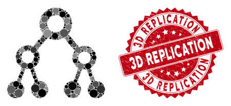 Mosaic binary tree and distressed stamp seal with 3D Replication caption. Mosaic vector is created from binary tree icon and with randomized circle spots. 3D Replication stamp seal uses red color, Illustration