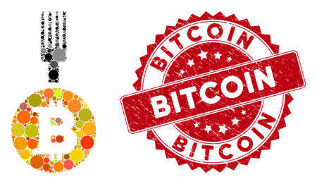 Collage Bitcoin fork and corroded stamp seal with Bitcoin phrase. Mosaic vector is formed with Bitcoin fork icon and with random round items. Bitcoin stamp seal uses red color, and dirty surface. Иллюстрация