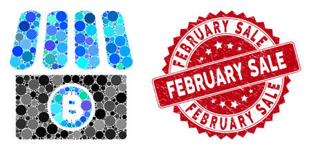 Mosaic Bitcoin store and corroded stamp seal with February Sale phrase. Mosaic vector is created with Bitcoin store icon and with scattered spheric items. February Sale stamp uses red color,