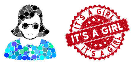 Mosaic blind woman and corroded stamp seal with ItS a Girl phrase. Mosaic vector is composed from blind woman icon and with random circle items. ItS a Girl stamp seal uses red color,